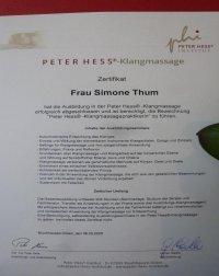 Zertifikat Peter Hess Institut Bayern